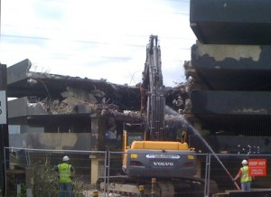 Bulldozers demolise the Colliers Wood tower car park